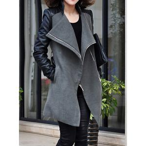 Stylish Stand-Up Collar Long Sleeve Zippered Spliced Women's Coat - GRAY L