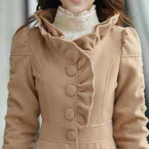 Stylish Stand-Up Collar Long Sleeve Solid Color Flounced Women's Coat -