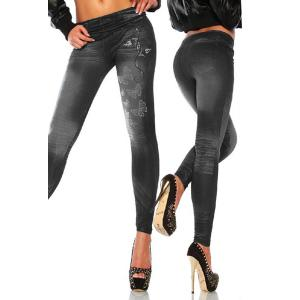 Casual Skinny Mid-Waisted Butterfly Women's Jean Leggings