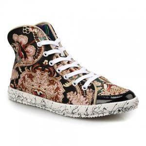 High Top Canvas Floral Sneakers - Black - 42