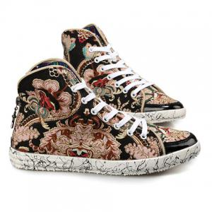 High Top Canvas Floral Sneakers - BLACK 42