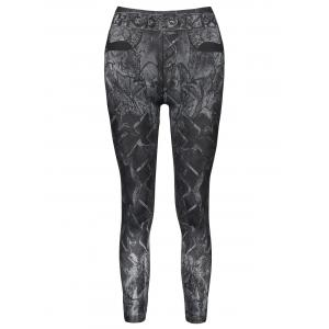 Casual Slimming Mid-Waisted Tattoo Graffiti Print Women's Jean Leggings - Black - One Size