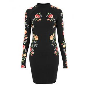 Floral Long Sleeve Mini Fitted Dress