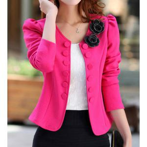 Bowknot Applique Single-Breasted Short Blazer