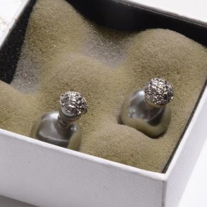 Pair of Women's Shining Pearl Embellished Earrings - SILVER GRAY