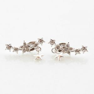 Pair of Alloy Rhinestone Embellished Star Shape Earrings -