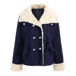 Preppy Style Turn-Down Collar Double-Breasted Thicken Long Sleeve Women's Coat - Purplish Blue - L