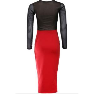 Long Sleeves Color Block Lace Splicing Long Bodycon Dress - RED/BLACK 2XL