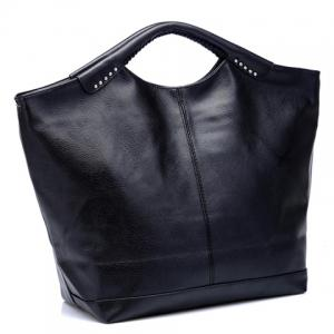Casual Sticthing Design Women's Black Tote Bag -