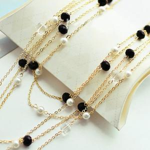 Gorgeous Women's Black Beads Embellished Sweater Chain Necklace - COLOR ASSORTED