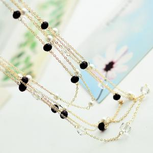 Gorgeous Women's Black Beads Embellished Sweater Chain Necklace -