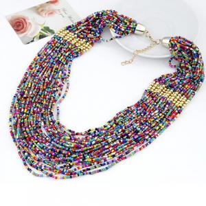 Statement Beads Embellished Multilayered Necklace - AS THE PICTURE