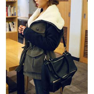 Casual Turn-Down Collar Color Block Drawstring Design Long Sleeve Coat For Women - ARMY GREEN M