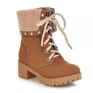 Preppy Turnover and Rivets Design Women's Short Boots - BROWN 38