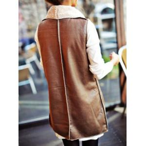 Stylish Turn-Down Collar Sleeveless Spliced Slimming Women's Waistcoat - KHAKI ONE SIZE(FIT SIZE XS TO M)