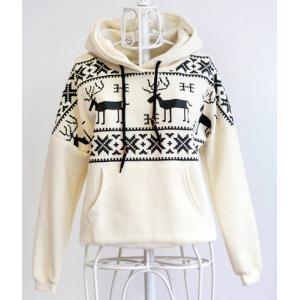 Stylish Hooded Long Sleeve Snowflakes Fawn Pattern Loose-Fitting Women's Hoodie - WHITE ONE SIZE(FIT SIZE XS TO M)