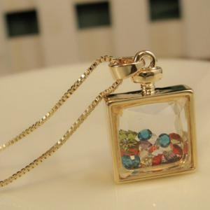 Alloy Faux Crystal Embellished Perfume Bottle Pendant Necklace