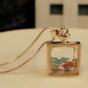 Alloy Faux Crystal Embellished Perfume Bottle Pendant Necklace -