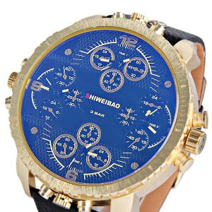 Shiweibao A1165 4-movt Quartz Watch Big Round Dial Day Leather Watchband for Men -