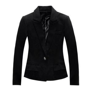 Stylish Long Sleeve Lapel Solid Color One-Button Women's Jacket Blazer -