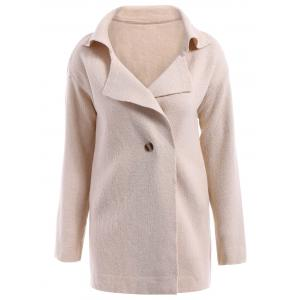 Casual Turn-Down Collar Loose-Fitting Solid Color Long Sleeve Women's Cardigan - Off-white - One Size(fit Size Xs To M)