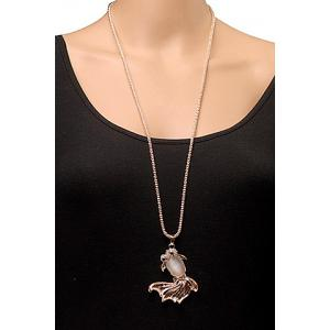 Noble Women's Rhinestone Embellished Fish Shape Pendant Sweater Chain Necklace -