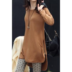 Stylish Jewel Neck Long Sleeve Zippered Solid Color T-Shirt For Women -