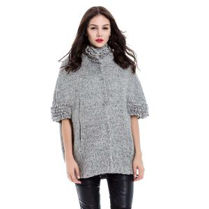 Vintage Stand-Up Collar Batwing Sleeves Solid Color Jacket For Women - Gray - S