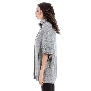 Vintage Stand-Up Collar Batwing Sleeves Solid Color Jacket For Women - GRAY M