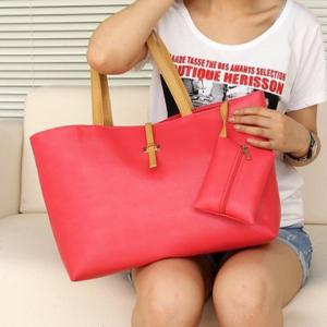 Pretty Style Candy Color and Buckle Design Women's Shoulder Bag -