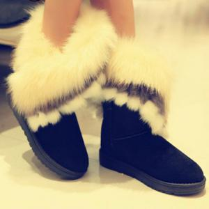 Furry Trim Ankle Boots - BLACK 40