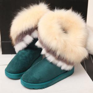 Furry Trim Ankle Boots - GREEN 37