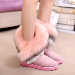 Furry Trim Ankle Boots - PINK 37
