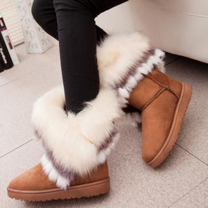 Furry Trim Ankle Boots - YELLOW 36