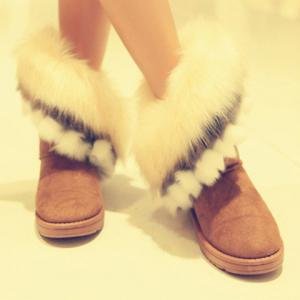 Furry Trim Ankle Boots - YELLOW 39