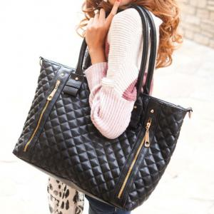 Fashion Checked and Zip Design Women's Shoulder Bag -