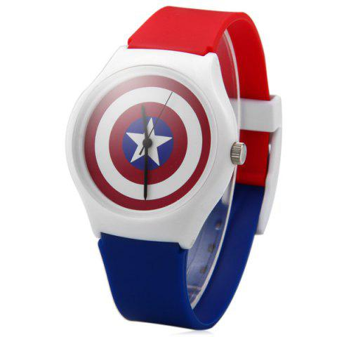 Outfit Female Quartz Watch Shield of Captain America Round Dial Plastic Watchband