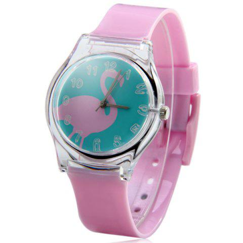 Chic Red-crowned Crane Pattern Female Quartz Watch Round Dial Plastic Watchband PINK