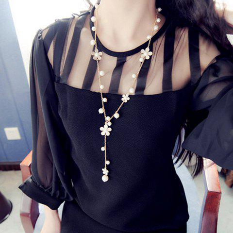 Outfits Chic Women's Beads Flower Pendant Sweater Chain Necklace