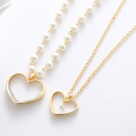 Hot Delicate Women's Pearl Heart Pendant Layered Sweater Chain Necklace