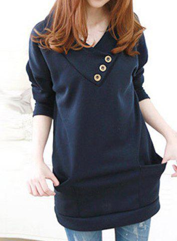 Shops Stylish Hooded Long Sleeve Button Design Solid Color Women's Hoodie BLUE M