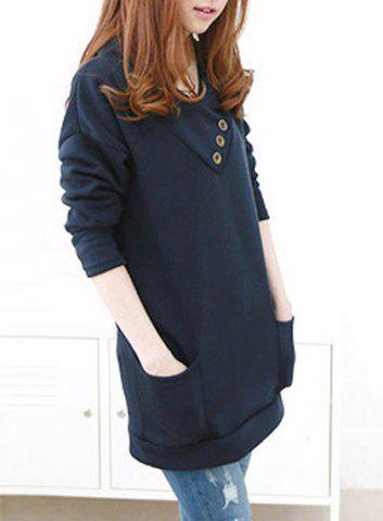 Online Stylish Hooded Long Sleeve Button Design Solid Color Women's Hoodie - M BLUE Mobile