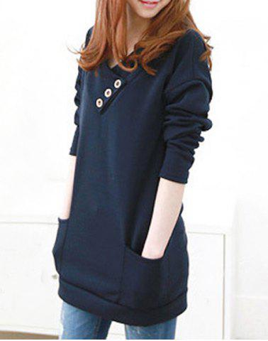 Sale Stylish Hooded Long Sleeve Button Design Solid Color Women's Hoodie - M BLUE Mobile