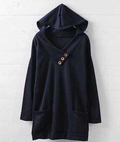 Discount Stylish Hooded Long Sleeve Button Design Solid Color Women's Hoodie - M BLUE Mobile