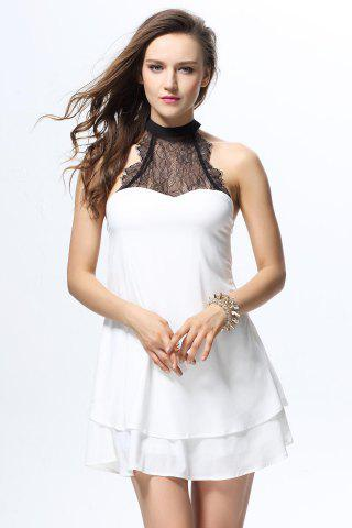 Fashionable Style Round Neck Sleeveless Lace Splicing Bow Tie Embellished Women s Blouse