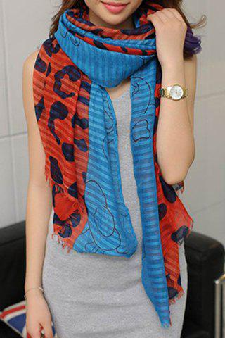 Sale Exquisite Printed Color Splicing Voile Scarf For Women