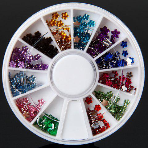 Mix Colors Plastic Flower Glitter Nail Sticker with Small Round Turning Case for Nail Art от Rosegal.com INT