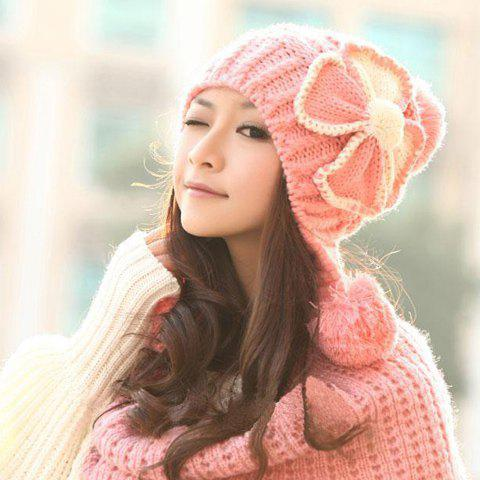 Latest Warm Fuzzy Ball Four-Leaf Clover Pattern Design Women's Knitted Hemp Flowers Hat