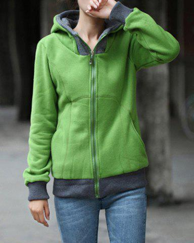 Fancy Stylish Long Sleeve Color Block Hoodie For Women
