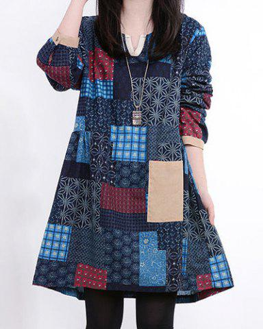 Chic Casual V-Neck Long Sleeve Spliced Printed Women's Dress